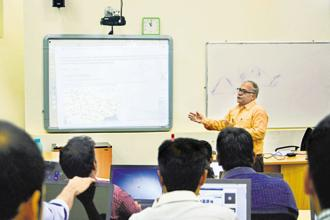 A file photo of a data analytics classroom at Praxis Business School in Kolkata. Six out of 10 developers are looking to acquire, or are currently learning machine learning and deep learning skills.
