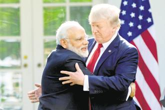 A file photo of US President Donald Trump with PM Narendra Modi. Trump on Tuesday called Modi a 'fantastic man', but said the US was 'getting nothing' despite India slashing tariff on imported high-end motorcycles. Photo: AP