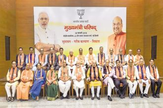 Prime Minister Narendra Modi, BJP president Amit Shah and senior party leaders with chief ministers and deputy chief ministers of BJP states in New Delhi on Wednesday. Photo: PTI