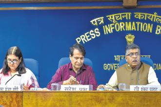 (From left) Union ministers Maneka Gandhi, Suresh Prabhu and Ravi Shankar Prasad at a press briefing on the cabinet meeting in New Delhi on Wednesday. Photo: PTI