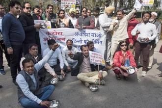 Traders protesting against sealing drive in Delhi. Photo: PTI