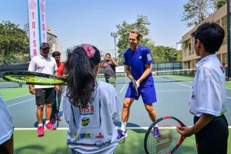 Former world No.1 Stefan Edberg at a tennis clinic at the Maharashtra State Lawn Tennis Association courts in Mumbai. Photo: Aniruddha Chowdhury/Mint