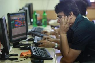At 10:55 am, the Sensex was at 34,203.10, down 143.29 points, while the Nifty 50 was at 10,504.15, down 50.15. Photo: Hindustan Times