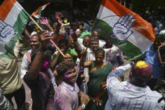 The Congress won the Mungaoli and Kolaras seats in Madhya Pradesh on Wednesday, and Ajmer and Alwar seats in Rajasthan earlier this month. Photo: Reuters