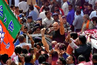 Party president Amit Shah said that the golden period of BJP would start after the party is able to win the upcoming assembly elections in Karnataka and elections in West Bengal, Kerala and Odisha when the assembly elections takes place in these states. Photo: PTI