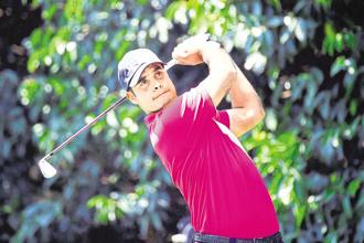 Shubhankar Sharma in action at the World Golf Championship in Mexico City. Photo: AFP