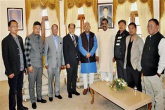 NDPP leader Neiphiu Rio with BJP general secretary Ram Madhav, JD (U) elected candidate G. Kaito Aye, independent MLA Tongpang Ozukum and NDPP-BJP state officials pose with governor of Nagaland P.B. Acharya at Raj Bhavan, in Kohima on Sunday. Photo: PTI