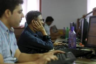 The Sensex fell 300.16 points, or 0.88%, to close at 33,746.78 points on Monday. Photo: Reuters