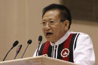Outgoing Nagaland CM T.R. Zeliang. The Naga People's Front (NPF) had won 27 seats in the 60-member state assembly in the recently held election. Photo: Singh Gosain/Hindustan Times