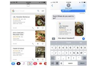 Google has integrated its search app for iOS with Apple's iMessage and Safari browser bringing a similar set of tools to iPhone and iPad users.