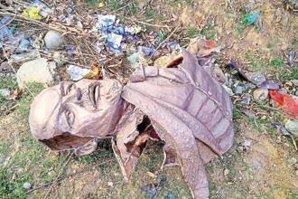 A statue of Vladimir Lenin vandalized in Belonia, Tripura. Photo: PTI