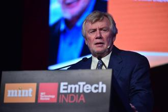 Paulson was speaking at the third edition of EmTech India, organised by Mint and MIT Technology Review. Photo: Pradeep Gaur/Mint