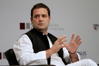 Rahul Gandhi, in an address at a Singapore university, assailed the BJP of pursuing divisive politics. Photo: Reuters