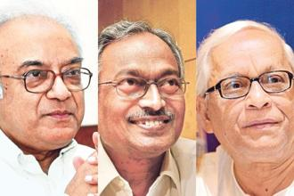 (From left) Former West Bengal finance minister Asim Dasgupta, ex-industries minister Nirupam Sen and former CM Buddhadeb Bhattacharjee. Photo: Indranil Bhoumik/Mint