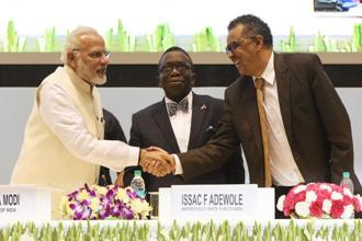PM Narendra Modi with Tedros Adhanom Ghebreyesus (right), director general of WHO and Issac F. Adewole (centre), Nigeria's health minister at the End-TB Summit in New Delhi on Tuesday. Photo: HT