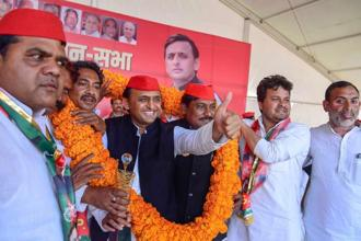 Samajwadi Party president Akhilesh Yadav during a campaign rally ahead of bypolls in Phulpur Lok Sabha constituency. Photo: PTI