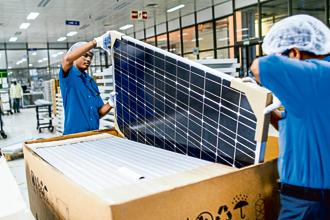 Poor quality Chinese solar panels, rejected by developers, were being sold in the Indian market at a discount. Photo: Bloomberg