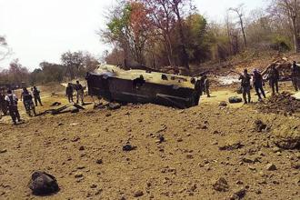 Maoists blew up a mine protection vehicle (MPV) in Chhattisgarh's Sukma district on Tuesday, killing nine CRPF personnel and seriously wounding two others. Photo: PTI