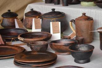 Earthen ware at the Dastkar fair.