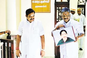 Tamil Nadu chief minister K. Palaniswami (left) with deputy CM O. Panneerselvam in the state assembly on Thursday. Photo: PTI