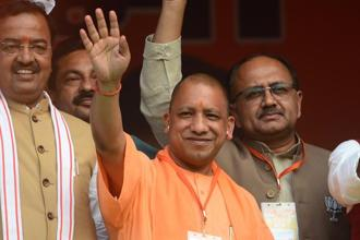 Uttar Pradesh chief minister Yogi Adityanath on Monday launched an anti-graft portal as his government completed its first year in office. Photo: AFP