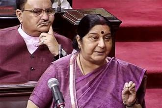 The protesting MPs from the AIADMK, DMK and TDP entered the Well soon after external affairs minister Sushma Swaraj made a statement on the 39 missing Indians in Iraq. Photo: PTI