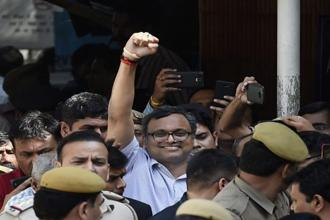 Karti Chidambaram is currently in jail in connection with the INX Media corruption case lodged by the CBI. Photo: PTI