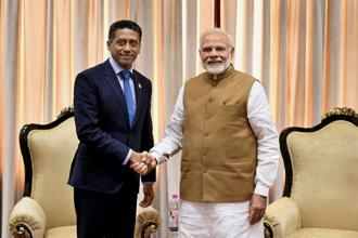 Prime Minister Narendra Modi with Danny Faure, President of Seychelles. Photo: PTI