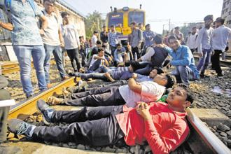 The protesters, mostly students in their early 20s, were demanding railway jobs since they had completed six-month apprenticeships with the national transporter. Photo: Reuters