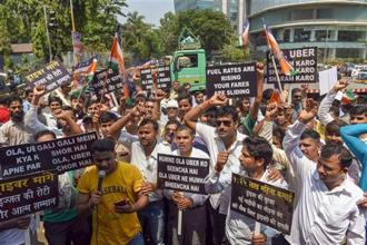 On Monday, drivers at Ola and Uber went on an indefinite strike to protest against low incomes, but apart from Mumbai, cab drivers in other major cities didn't participate in the strike in large numbers. Photo: PTI