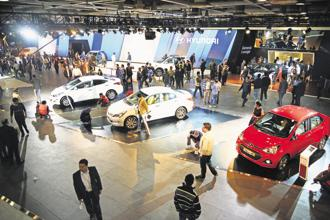 Hyundai's pavilion at the Delhi Auto Expo 2018. The automobile industry is at the cusp of a once-in-a-century disruption with the advent of electric vehicles. Photo: Ramesh Pathania/Mint