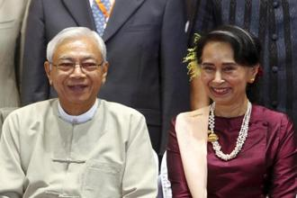 In this file photo, Myanmar's president Htin Kyaw (left) seen with State Counsellor Aung San Suu Kyi. Photo: AP