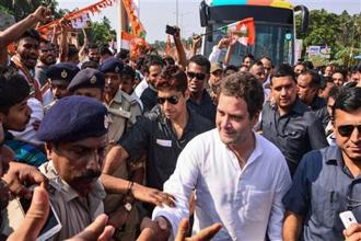 Congress president Rahul Gandhi. While he accused the government of baiting the media, fellow party leader Randeep Surjewala said the law minister was spreading 'falsehood' so it could avoid giving answers in Parliament. Photo: PTI