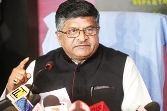IT minister Ravi Shankar Prasad on Thursday met top officials of the ministry to discuss the data protection plan. Photo: Ramesh Pathania/Mint