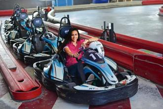 Mira Erda before the Red Bull Catch Up event at SMAAASH Sky Karting.Photo: Pradeep Gaur/Mint