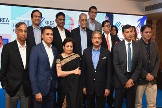 (Standing left to right in front row) R. Seshasayee, Sajjan Jindal, Vishaka Desai, Anand Mahindra and Raghuram Rajan during the announcement of Krea University in Mumbai on Friday. Photo: PTI