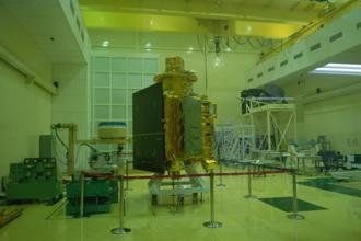 A file photo of Isro's Chandrayaan-1 displayed at Indian Space Research Organisation satellite center in Bangalore in 2008. Photo: Hemant Mishra/Mint