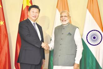 A file photo of Prime Minister Narendra Modi with China President Xi Jinping in Goa in October 2016. Photo: PIB