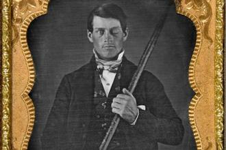 Phineas Gage with the iron rod. Photo: Wikimedia Commons