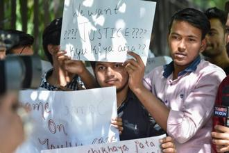 CBSE students during a protest over the alleged paper leak in Delhi. Photo: PTI