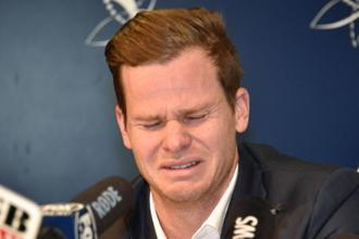 Steve Smith during a press conference in the aftermath of the ball-tampering scandal. Photo: AFP
