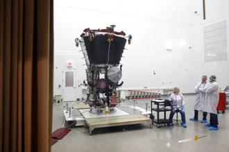 NASA's Parker Solar Probe is seen at the Goddard Space Flight Center in Maryland. It will travel closer to the Sun than any other spacecraft in history as it attempts to help researchers better understand stars throughout the universe. Photo: AP