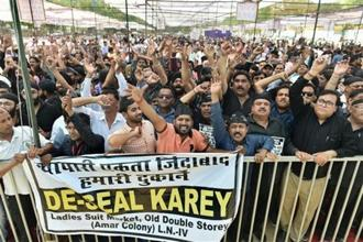 Traders protest in Delhi. Additional solicitor general A.N.S Nadkarni told the SC that the 2021 Delhi Master Plan has not yet been finalised and he could place a roadmap before the court about what the government proposes to do in the matter.