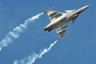 A Saab Gripen fighter jet. At least 85% of the fighter jets that the Indian Air Force is acquiring are made in India, giving a big push to the government 'Make in India' programme. Photo: Bloomberg
