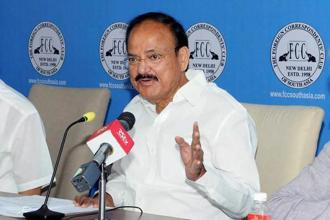 "Speaking at an event to mark 60 years of the Foreign Correspondents' Club of South Asia in New Delhi, VP M. Venkaiah Naidu said India withstood the effects of economic slowdown elsewhere in the world because of ""the prime minister's passion for reforms"". Photo: PTI"