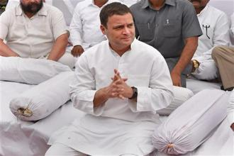 Congress president Rahul Gandhi said his party was on a hunger strike against the BJP's ideology. Photo: PTI