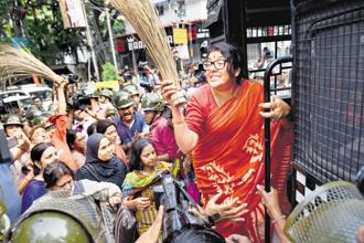 BJP Mahila Morcha president Locket Chatterjee and others during a rally in front of State Election Commission office in Kolkata on Tuesday, ahead of upcoming West Bengal panchayat elections. Photo: PTI