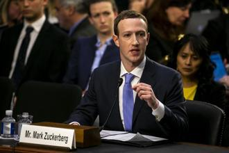 Facebook shares jumped more than 5% to the highest level in more than two weeks after Mark Zuckerberg's testimony before the US Senate. Photo: Bloomberg