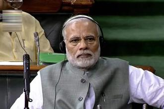 A file photo of Prime Minister Narendra Modi during the last day of the budget session of Lok Sabha in New Delhi on Friday. Photo: PTI