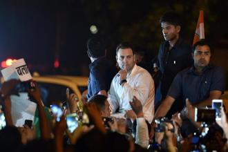 Congress president Rahul Gandhi at India Gate for a midnight march against Kathua and Unnao rape cases, in New Delhi on Thursday. Photo: PTI